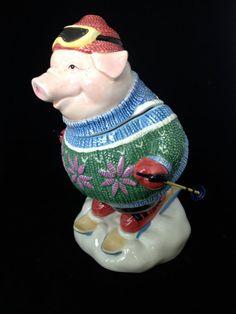 Fitz & Floyd Skiing Pig Cookie Jar- TakesMeTo