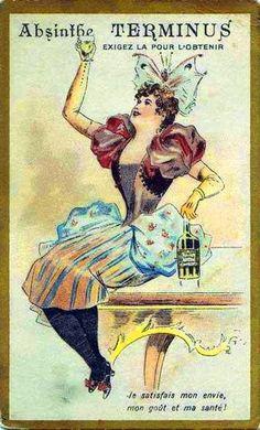 """vintage absinthe poster - """"Je satisfais mon envie, mon goût et ma santé!"""""""