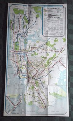 Map New York City Subway Trains & Elevated Lines Bell Phone System Yellow Pages