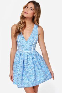 Mink Pink Pleasantville Blue Jacquard Dress at LuLus.com!