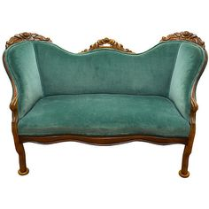 19th-C. Velvet Settee One Kings Lane ❤ liked on Polyvore