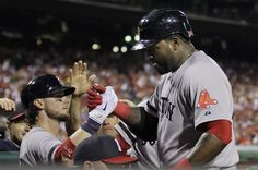 Boston Red Soxs David Ortiz, right, is congratulated by Jarrod Saltalamacchia after Ortizs home run off  Philadelphia Phillies pitcher Jeremy Horst in the seventh inning of an interleague baseball game, Thursday, May 30, 2013, in Philadelphia. (AP Photo/Laurence Kesterson)