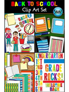 $4.75  *Back to School Clip Art {Watson Works Clip Art/Graphics} This colorful 47-piece clip art set is perfect for back to school lessons, activities, notes, newsletters, and more!  All images are png files, all 300 dpi for high quality, clear, crisp printing, and they can easily be layered in your projects and lesson materials.  12 digital backgrounds, 3 borders, & 32 graphics included.  Enjoy!