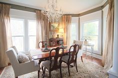 Dining Room Colors, olive green, rustic burlap curtains...still works with the formal Queen Anne dining set