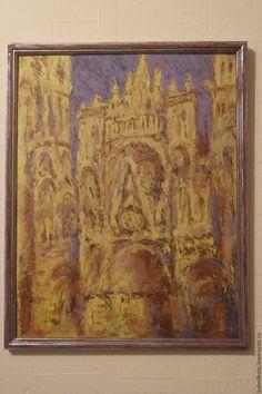 Купить Руанский собор - бежевый, картина, масло, картина маслом, картина для интерьера, Клод Моне