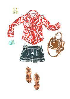 Weekend Wear! Keepin' it casual.  Illustration by Lis Sartori