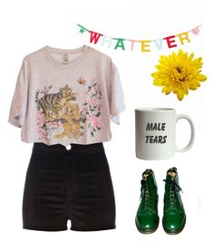 """""""Untitled #26"""" by kittymaid ❤ liked on Polyvore featuring ColoredPrints, Dr. Martens and River Island"""