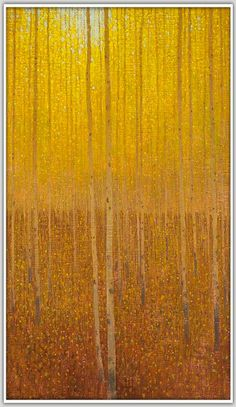 "David Grossmann > Falling Yellow Leaves Oil on Linen Panel, 24""x14"""