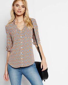 slim fit hexagon print portofino shirt