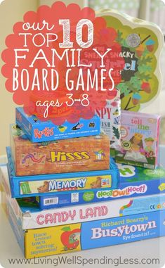 Our Top 10 Family Board Games. Awesome review of ten wonderful family games that are fun for kids AND adults. Includes details on each games with ratings by both kids & parents. What a great resource!