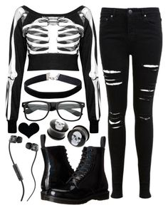 """Untitled #133"" by spnlex ❤ liked on Polyvore featuring Killstar, Dr. Martens, Miss Selfridge and Skullcandy"
