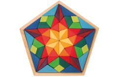 Pentagon Puzzle by Grimms 65 large 4 inch thick wooden pieces set in a wooden frame which measures in diameter sold by Montessori Design by Nuccia Millefiori Quilts, Eco Friendly Toys, Paper Crafts Origami, Barn Quilts, Wooden Puzzles, Scroll Saw, Wood Toys, Pentagon, Diy Toys