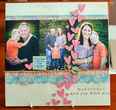 love the floating hearts, and how they are going 'over' the photos.do with dog paws