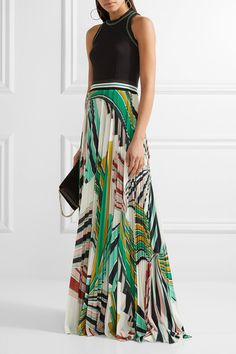 Emilio Pucci - Stretch-ponte And Pleated Printed Stretch-jersey Maxi Dress - Green