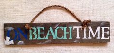 On Beach Time pallet wood design with rope by SeaCityDesigns