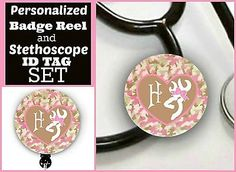 Badge Reel and Stethoscope ID Tag Set Personalized -CAMO- Nurse, LPN,ETC