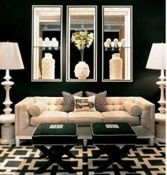 beautiful traditional black family room with floor lamps