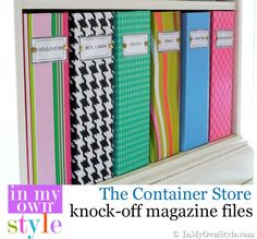 How to recover magazine files with the paper of your choice. Container-Store-Magazine-File Knock-off Office Organization Tips, Storage Organization, Organizing Ideas, Office Ideas, Magazine Organization, Magazine Storage, Storage Boxes, Storage Ideas, Magazine Files