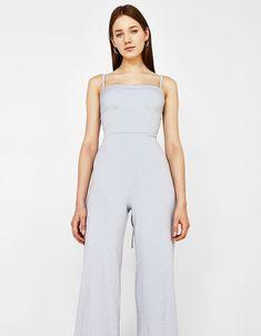 cd476da866 Culotte jumpsuit in shimmer thread Bershka Outfit