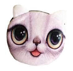 Flauschiger Kindergeldbeutel / Kinderportemonnaie / Münzbeutel / Schlüsseltasche mit süßem Katzenmotiv inkl. Katzenohren (Reissverschluss) (Weiß-Grau)