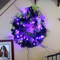 Christmas Wreath with Purple lights and cut out Basset Hound