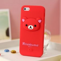 Rilakkuma Silicone iphone 5 case 3D Head Red