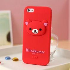 Rilakkuma Silicone iphone 5 case 3D Head Red