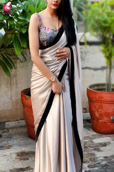 Buy Pink Fawn Black Velvet Taping Satin Saree - Sarees Online in India Saree Wearing Styles, Saree Styles, Blouse Styles, Dress Indian Style, Indian Dresses, Sarees For Girls, Satin Saree, Velvet Saree, Stylish Blouse Design