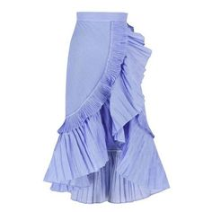 Ruffle Wrap Skirt with Striped Shirting Fabirc (€59) ❤ liked on Polyvore featuring skirts, blue pleated skirt, asymmetrical skirt, midi skirt, blue midi skirt and stripe skirt
