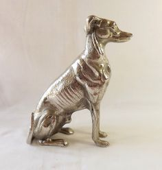 Greyhound figurine silver plate on brass by MaisonMaudie on Etsy, $25.00