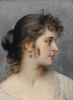 Portrait Of A Young Venetian Girl - Eugene de Blaas
