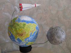 макет земля и луна из папье маше