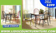 ROUND TABLE + 4 CHAIRS or RECTANGULAR TABLE + 4 CHAIRS ONLY $399 #longislanddiscountfurniture #furniture #diningtable #diningroom #discount #countertable www.longislanddiscountfurniture.com