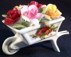 Royal Albert Old Country Roses Miniature Wheelbarrow of flowers. Old Country Roses originally launched in 1962 and is now renowned for being synonymous with Royal Albert and fabulous British tea parties. Muebles Shabby Chic, Flower Boxes, Flowers, Rose Tea, China Patterns, China Dinnerware, Royal Albert, Vintage Glassware, China Porcelain