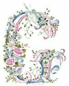 G romantic Font Alphabet Art, Calligraphy Alphabet, Alphabet And Numbers, Letter Art, Embroidery Letters, Embroidery Fonts, Floral Letters, Monogram Letters, Graphic 45
