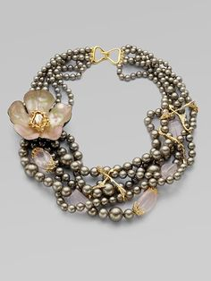 Alexis Bittar: Swarovski Crystal & Lucite Accented Multi-Row Bead Necklace