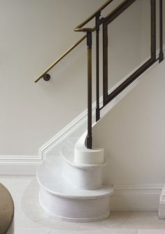 Parisian Townhouse « Kathryn Scott Design Studio Black white and brass make a dramatic contemporary statement on this staircase, inspired by art deco Stair Handrail, Staircase Railings, Banisters, Staircase Design, Stairways, Marble Staircase, Stair Design, White Staircase, Curved Staircase