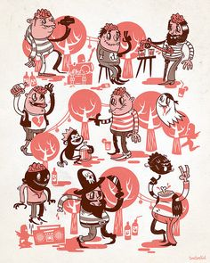 The style reminds me of Gary Baseman. Interesting color palettes. Niklas Coskan.