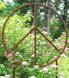 Garden Peace Sign Art -Large Metal Garden Sculpture