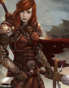Fox (armor, red hair, blue eyes, red cloak, cape, sword, weapons, vanbraces, fighting, assasin, warrior, knight, girl, woman)