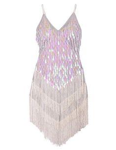 Amazon.com: KAYAMIYA Women's 1920s Sequins Fringe Sway Charleston Flapper Costume Dress XS/S White: Clothing