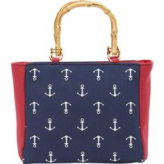 Magid Bamboo Handle Anchor Mini Tote (92 BRL) ❤ liked on Polyvore featuring bags, handbags, tote bags, blue, mini purse, zip top tote bag, mini tote bag, blue handbags and bamboo handle purse