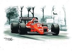 1986 Ferrari F1-86, Michele Alboreto, Stefan Johansson. Ferrari F1 collection ART by Artem Oleynik. This collection demonstrating Ferrari F1 racing cars since 1950 to 2016 and includes 96 pictures in oil on canvas. The size of each original picture is 25 x 35 cm.