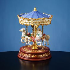 Heritage 3-Horse Rotating Carousel - Collectible Musical Boxes and Figurines - AmazingMusicBox.com