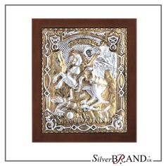 Exact copy of byzantine silver icon depicting Saint Dimitrios. Christ Pantocrator, Saint George, Virgin Mary, Byzantine, Handmade Silver, Saints, Plating, Greek, Canvas Prints