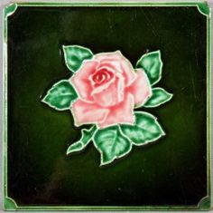 English Tile of a Victorian Rose, c1900
