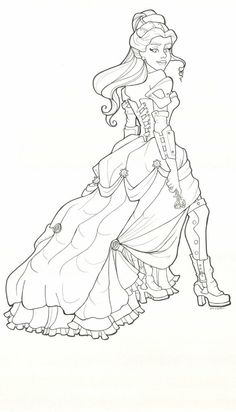 Steampunk Belle coloring page printable adult Kleuren voor volwassenen Färbung für Erwachsene coloriage pour adultes colorare per adulti para colorear para adultos раскраски для взрослых omalovánky pro dospělé colorir para adultos färgsätta för vuxna farve for voksne väritys aikuiset difficult detailed anti-stress