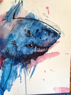Shark, Watercolor