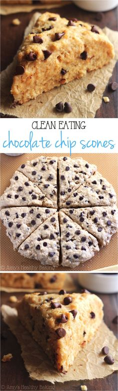 Clean-Eating Chocolate Chip Scones -- so easy, supremely tender packed with almost 5g of protein! #clean #recipes #eatclean #recipe #healthy