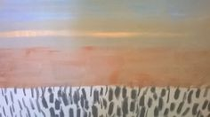 Close up of Large painting .Contrasts in pattern, Colour, light, mood, texture, oil on canvas , preview before May Fowey arts trail. Nathan Davies Art
